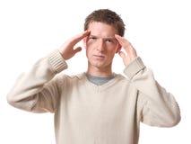 Hombre con dolor de cabeza Imágenes de archivo libres de regalías