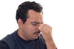 Hombre con dolor de cabeza Foto de archivo libre de regalías
