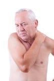 Hombre con dolor de cuello Imágenes de archivo libres de regalías