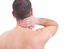 Hombre con dolor de cuello Fotografía de archivo libre de regalías
