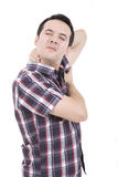 Hombre con dolor en el cuello Fotos de archivo libres de regalías