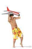Hombre con el aeroplano Imagen de archivo libre de regalías