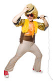Hombre con el afrocut y el mic aislados Foto de archivo libre de regalías