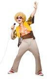 Hombre con el afrocut y el mic aislados Imagen de archivo libre de regalías