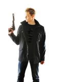 Hombre con el arma Foto de archivo libre de regalías