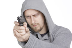 Hombre con el arma señalado Fotografía de archivo libre de regalías