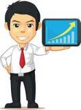 Hombre con el aumento del gráfico o de la carta en la tableta Imágenes de archivo libres de regalías