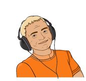 Hombre con el auricular Imagen de archivo