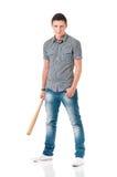 Hombre con el bate de béisbol Imagen de archivo libre de regalías