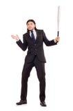 Hombre con el bate de béisbol aislado Imagenes de archivo