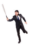 Hombre con el bate de béisbol aislado Imagen de archivo libre de regalías