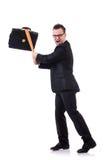 Hombre con el bate de béisbol aislado Imágenes de archivo libres de regalías