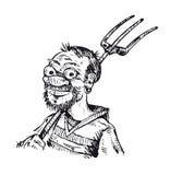 Hombre con el bieldo Imagen de archivo libre de regalías