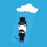 Hombre con el bigote en lluvia Imagen de archivo libre de regalías