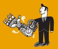 Hombre con el brazo cibernético Imágenes de archivo libres de regalías
