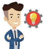 Hombre con el bulbo de la idea del negocio en engranaje ilustración del vector
