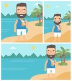 Hombre con el cóctel en la playa stock de ilustración