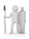 Hombre con el cepillo de dientes. 3D aislado Imagen de archivo libre de regalías