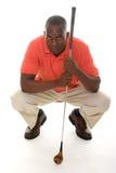 Hombre con el club de golf Fotografía de archivo