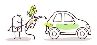 Hombre con el coche y el combustible biológico stock de ilustración