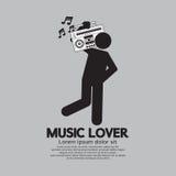 Hombre con el concepto de radio del amante de la música ilustración del vector