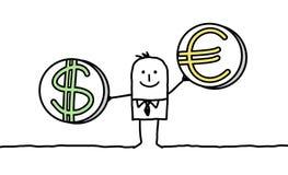 Hombre con el dólar y el euro Foto de archivo