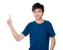 Hombre con el destacar del finger Imagen de archivo libre de regalías