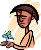 Hombre con el ejemplo de la mariposa Imagenes de archivo