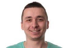 Hombre con el fondo blanco aislado piel del problema del acné Fotos de archivo libres de regalías