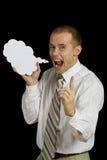 Hombre con el globo de discurso   Imagen de archivo libre de regalías