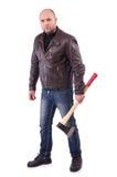 Hombre con el hacha aislada Imagenes de archivo