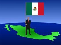 Hombre con el indicador de México stock de ilustración