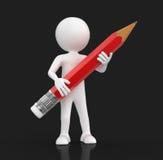 Hombre con el lápiz (trayectoria de recortes incluida) Imágenes de archivo libres de regalías