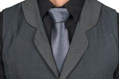 Hombre con el lazo gris y chaleco gris oscuro fotos de archivo