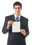Hombre con el letrero en blanco Imágenes de archivo libres de regalías