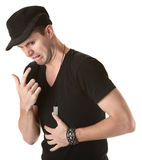 Hombre con el malestar estomacal Fotografía de archivo