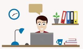 Hombre con el ordenador portátil, trabajando en oficina detrás de la tabla libre illustration