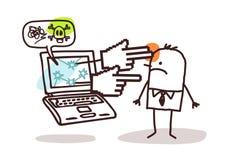 Hombre con el ordenador portátil y cyberbullying Imagenes de archivo