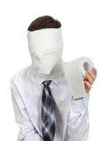 Hombre con el papel higiénico Fotos de archivo libres de regalías