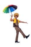 Hombre con el paraguas aislado Imágenes de archivo libres de regalías
