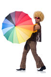 Hombre con el paraguas aislado Foto de archivo libre de regalías