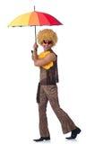 Hombre con el paraguas aislado Fotografía de archivo