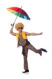 Hombre con el paraguas aislado Fotografía de archivo libre de regalías