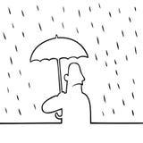 Hombre con el paraguas en lluvia Fotografía de archivo libre de regalías