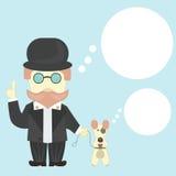 Hombre con el perro (fox terrier) durante paseo ilustración del vector