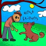 Hombre con el perro Ilustración del vector EPS10 Fotos de archivo libres de regalías