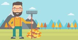 Hombre con el rastrillo que coloca el montón cercano de las hojas de otoño ilustración del vector