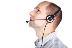 Hombre con el receptor de cabeza Fotografía de archivo libre de regalías