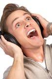 Hombre con el receptor de cabeza Imagen de archivo libre de regalías