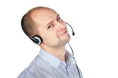 Hombre con el receptor de cabeza con un micrófono de auge Imágenes de archivo libres de regalías